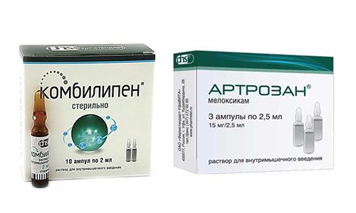 Артрозан и Комбилипен помогают человеку избавиться от острой боли, вызванной деструктивными процессами в тканях опорно-двигательного аппарата